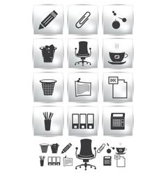 Print set of office icon button armchair vector