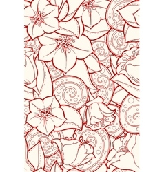 Seamless ornamental pattern with stylized tulip vector