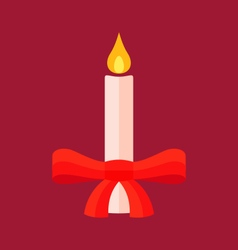 Christmas candle with bow vector