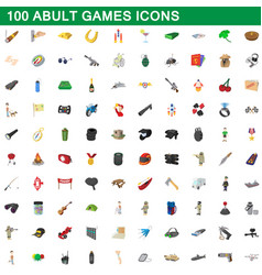 100 adult games icons set cartoon style vector