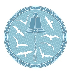 Bell and seagulls vector