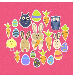 Easter set on a pink vector