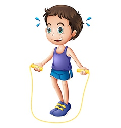 A young man playing with the skipping rope vector