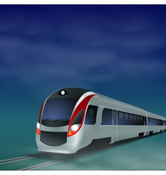 High-speed train at night vector