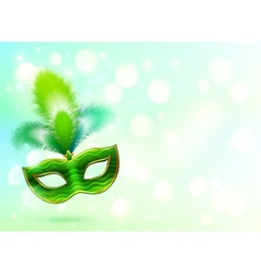 Green carnival mask with feathers banner vector