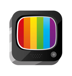 3d button old television technology vector