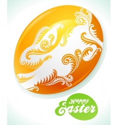 easter egg and white rabbit vector image