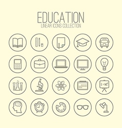 Education linear icons collection vector