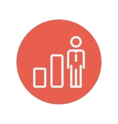 Businessman and graph thin line icon vector