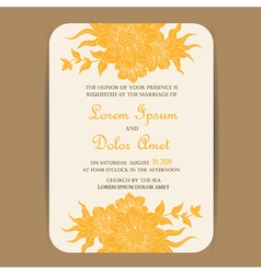 Invitation card with yellow vintage flowers vector