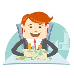 Happy office man hipster sitting at the table and vector