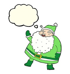 Funny waving santa claus cartoon with thought vector