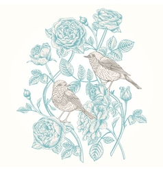Vintage card with roses and birds vector