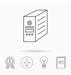 Computer server icon pc case or tower sign vector
