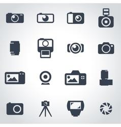 black camera icon set vector image