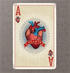 Ace of hearts vintage playing card vector