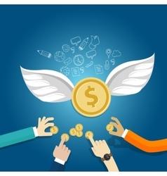 Angel investor money fund management startup coin vector