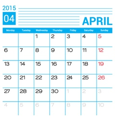 April 2015 calendar page template vector image
