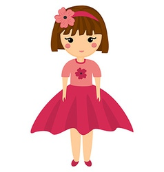 Baby Doll Very Cute Girl in Pink Clothes Little vector image