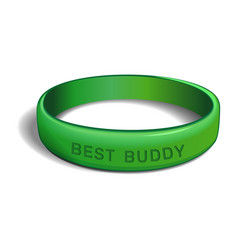 Best buddy green plastic wristband vector