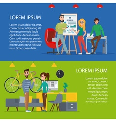 Business characters scene Teamwork in modern vector image vector image