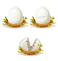 Cartoon funny egg in birds nest of twigs vector
