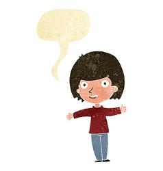 cartoon happy woman with speech bubble vector image vector image