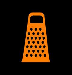Cheese grater sign orange icon on black vector