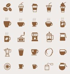 Coffee color icons on light background vector