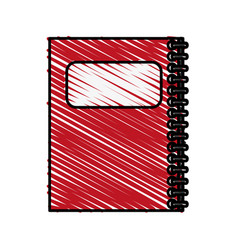 Color crayon stripe cartoon red notebook spiral vector