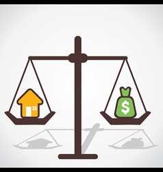 Cost of house is equal to you save money vector