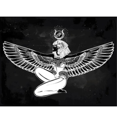 Egyptian godess isis with outstratched wings vector