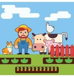 Farmer and farm animals vector image vector image