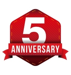 Five year anniversary badge with red ribbon vector image