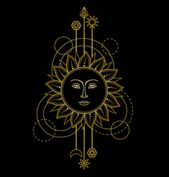 gold sun modern symbol vector image vector image