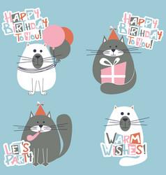 happy birthday cats set vector image vector image