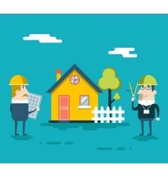 Happy builder designer engineer foreman characters vector