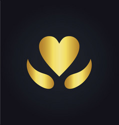 Heart love sign gold logo vector