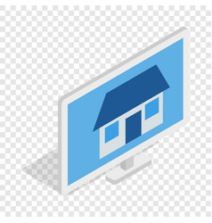 House on laptop screen isometric icon vector