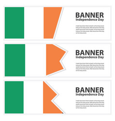 Ireland flag banners collection independence day vector