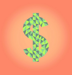 Low poly dollar sign vector