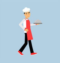 male chef cook character in uniform walking with vector image