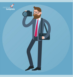 man with dslr camera vector image vector image