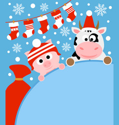 new year background card with pig and cow vector image vector image