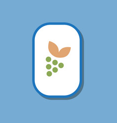 paper sticker on stylish background grapes with vector image