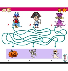 Paths puzzle task for kids vector
