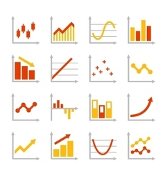 Red and orange business graph diagram icons set vector