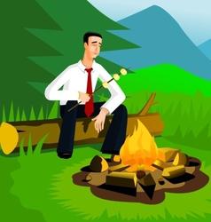 Relaxing businessman near campfire vector image