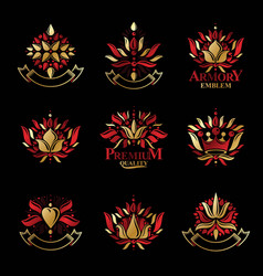 royal symbols flowers floral and crowns emblems vector image