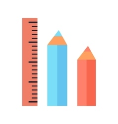 Ruler and two pencils icons isolated on white vector